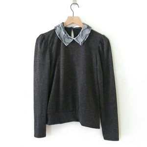 NWT Zara Gray Lace Collar Puff Sleeve Sweater M